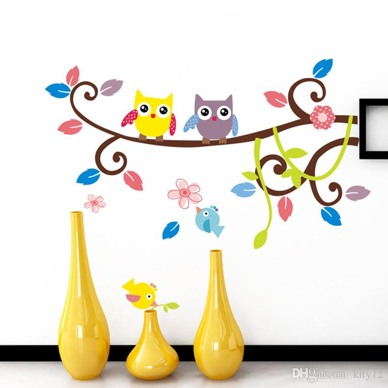 New Cute Owls Wall Decal Sticker Decor Branch Wall Art Murals Posters for Kids Room Nursery Living room Wall Decor