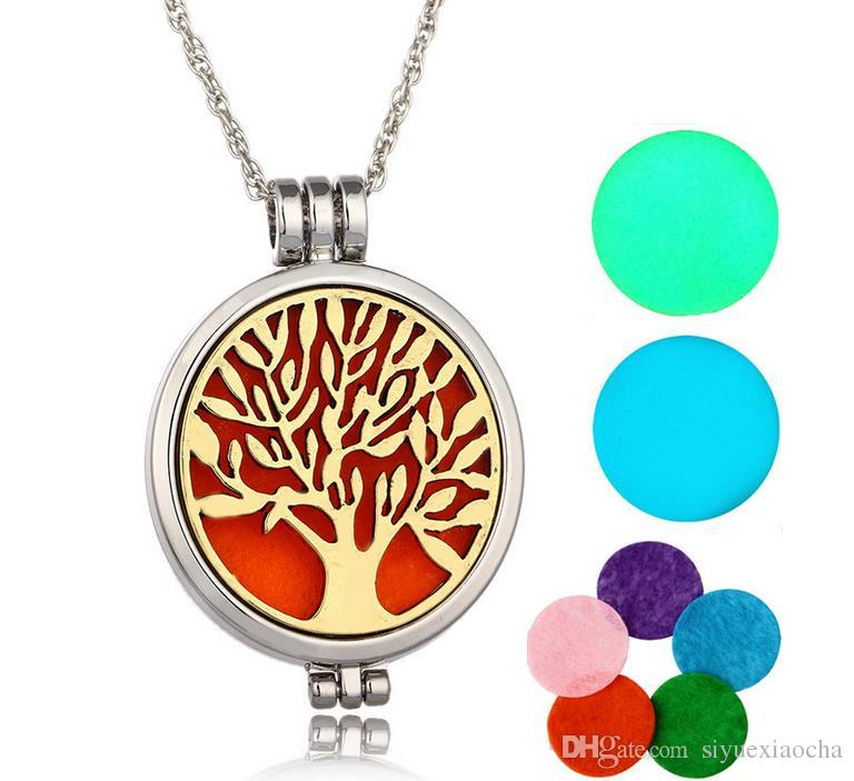 Vintage Opening Locket Pendant Necklace, Life Tree, Night light Copper Hollow Flowers Essential Oil Diffuser Necklaces Aromatherapy Pendants