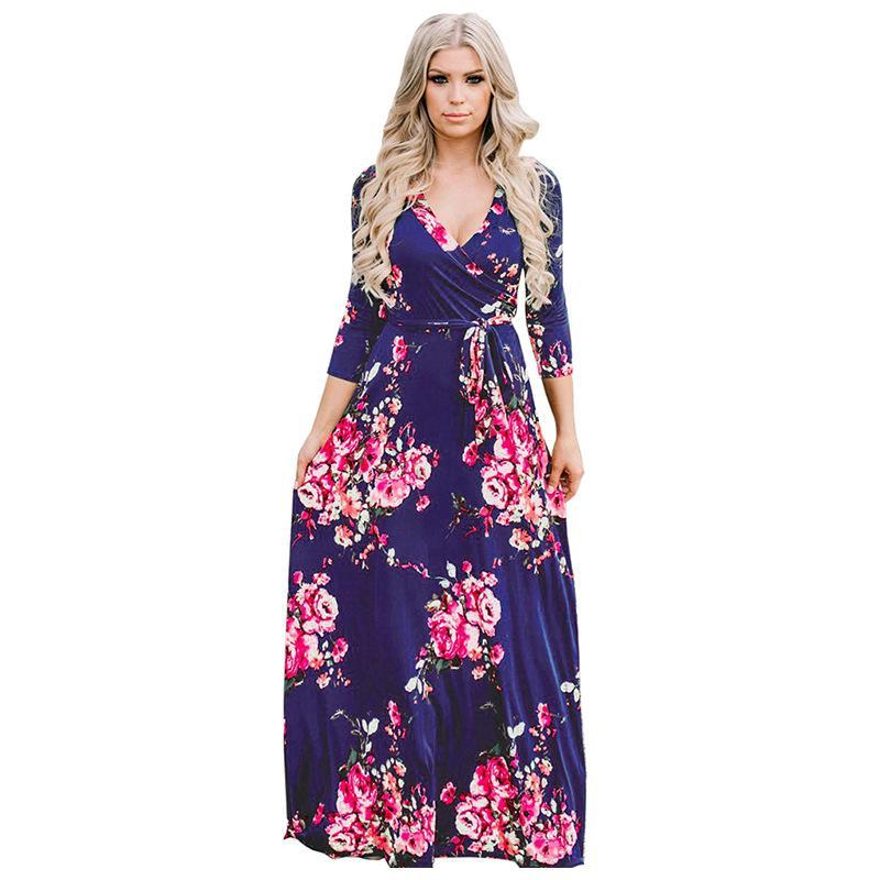 d746dc16eda9 Women Floral Printing Dresses Vintage Casual Maxi Dress Fashion Contrast  Color Long Sleeve Pleated Party Dresses Vestidos Little Black Dresses One  Shoulder ...