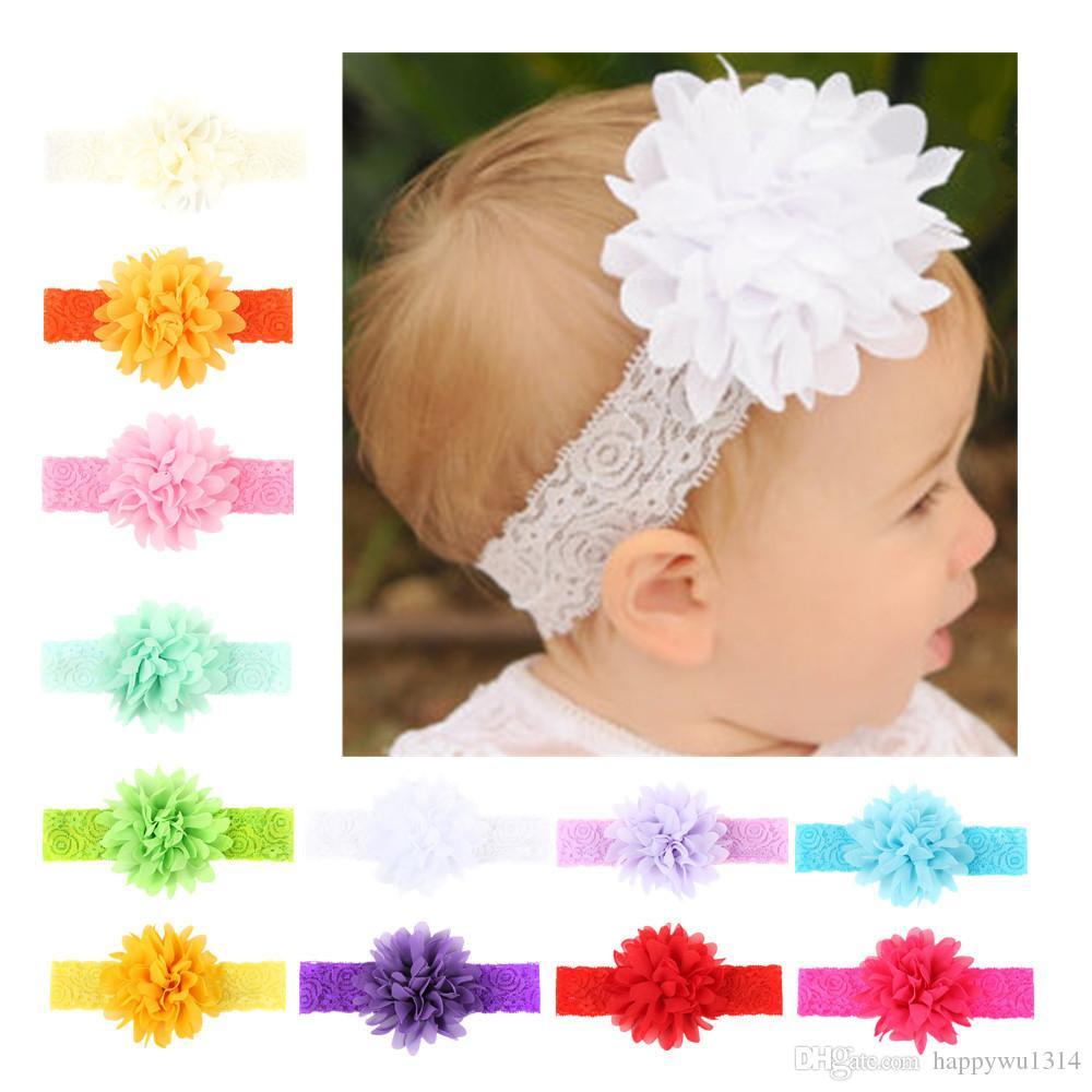 b35051604f62e Baby Flower Headbands Chiffon Flowers Headband for Girls Toddler ...
