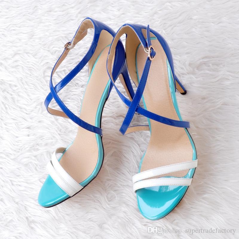 Ol Cruzadas Tacones Sexy Sandalias Correas Aguja Europa De Style Verde Ladies Summer Zapatos Altos Mujeres Azul E29IDHW