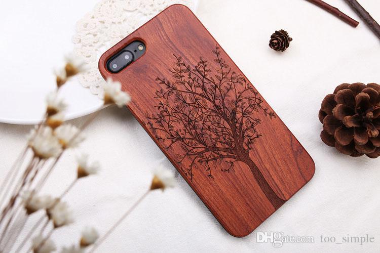 Pour iPhone X Bamboo Custom Design Case Caisse en bois Antichoc Pour iPhone 6 7 Pour Samsung Galaxy S8 S9 Plus Note 9 DHL