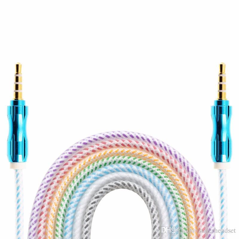 Роскошные 3.5 мм 1 м 1.5 м 3 фута плетеный AUX аудио кабель Cucurbit вспомогательный кабель от мужчины к мужчине стерео расширение автомобиля аудио кабель для MP3 автомобильный телефон