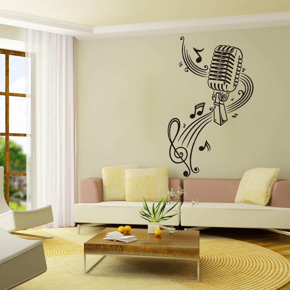 Music Mural Wall Sticker Pvc Fashionable Notes And Microphone Art Wall Mural Stickers For Living
