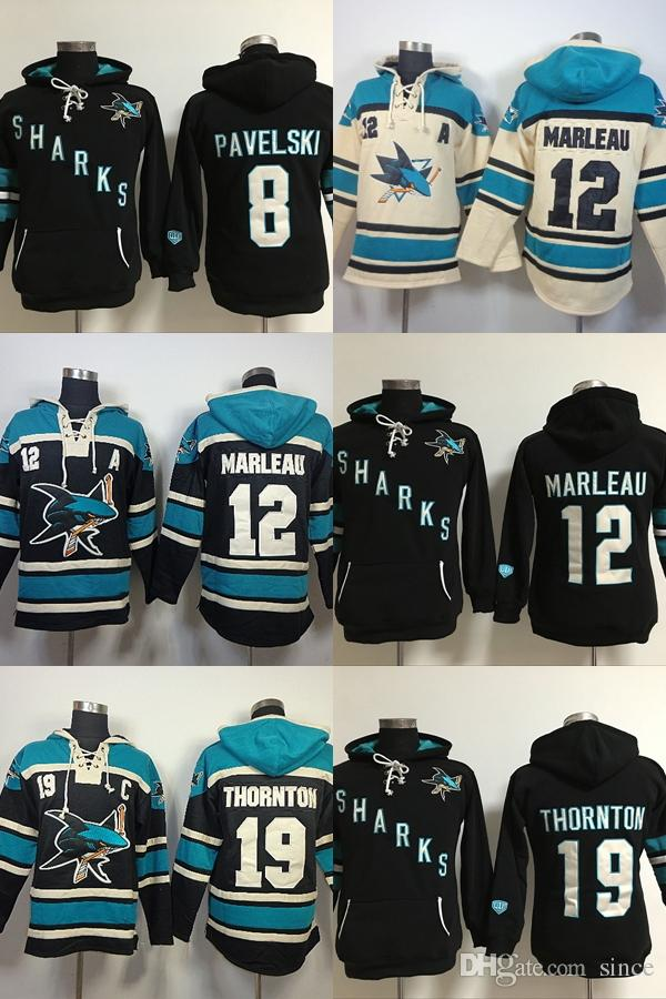 2018 Factory Outlet Mens San Jose Sharks 8 Joe Pavelski 19 Joe Thornton 12  Patrick Marleau Full Embroidery Best Quality Cheap Ice Hockey Hoodies From  Since 83022dba0