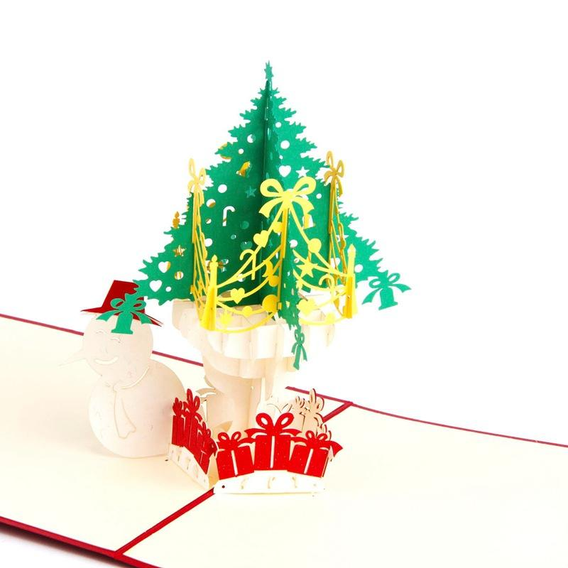 10pcs/lot Laser Cut Christmas Party Invitations 3D Pop Up Greeting Card Cubic Christmas Tree Snowman Postcard