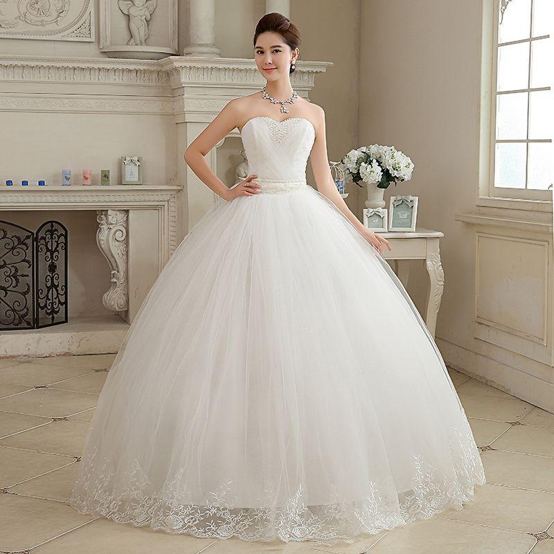 Abito da sposa La sposa Sexy senza spalline Elegante Perline Stile semplice Abito da ballo Ricamo Vestido De Novia F