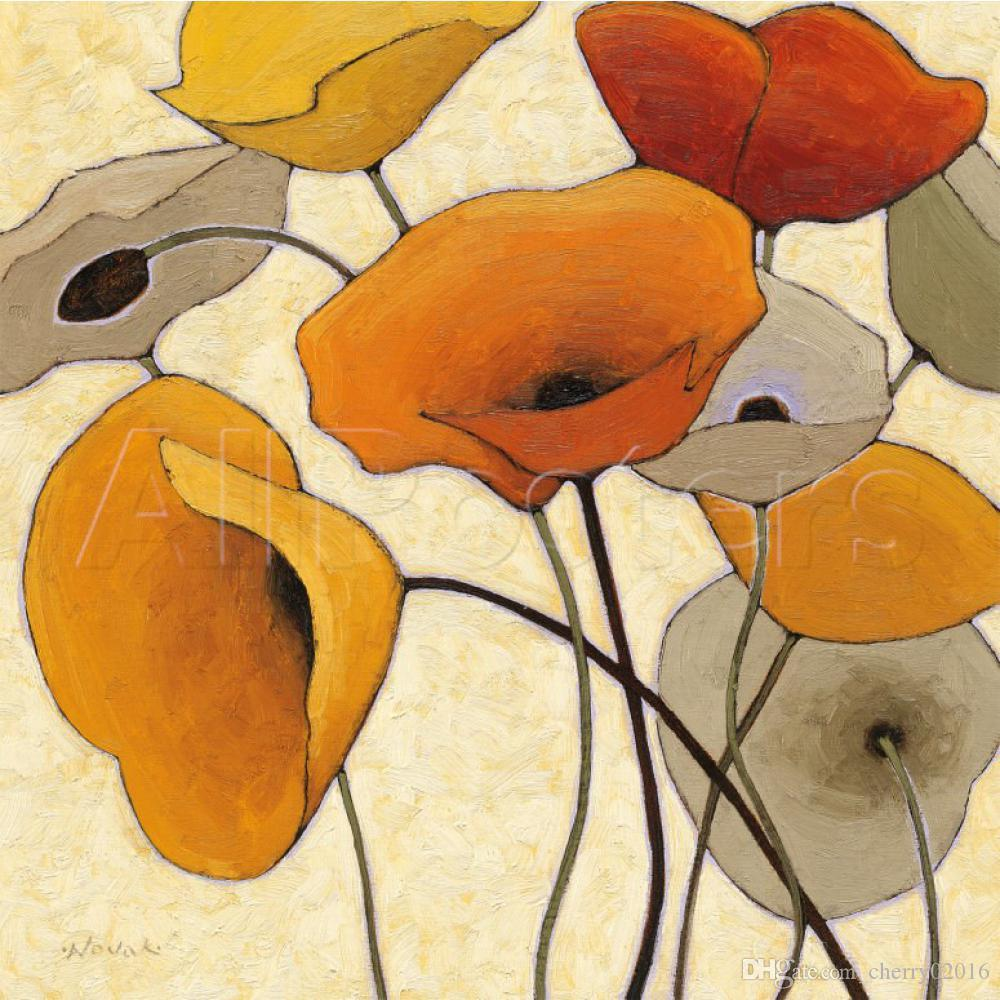 Hand painted Abstract oil painting flower Pumpkin Poppies Shirley Novak oil on canvas Home decor