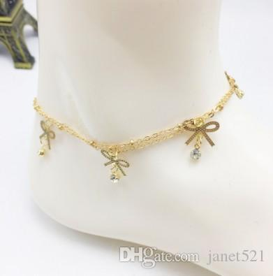 Modeschmuck Goldplated Barefoot Beach Ankle Indian Women Bridal Wedding Chain Anklet Jewelry