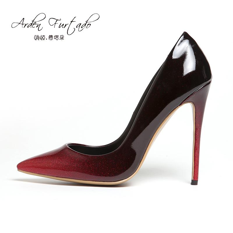 Woman Brand Shoes 12cm High Heels Pumps Dress Wedding Shoes Red Grey ... ecc86c420c22
