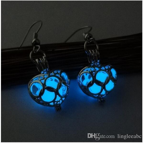Yeni gece lambası oyuk-kalp şeklinde küpeler