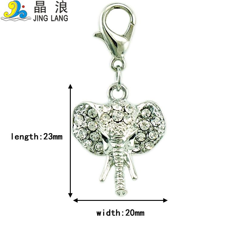 Fashion Charms With Lobster Clasp Dangle White Rhinestone Elephant Head Pendants DIY Charms For Jewelry Accessories