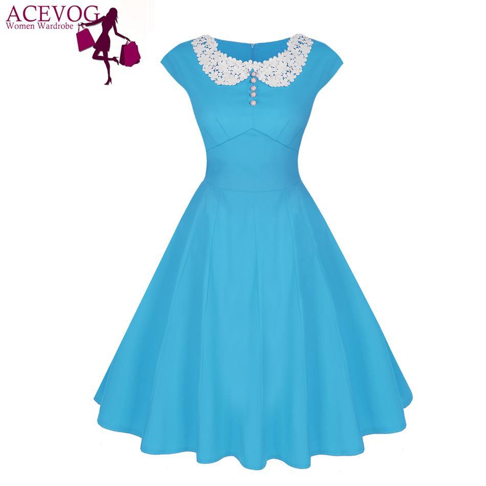 1b87327e94 2019 Wholesale ACEVOG Brand Vintage Women Dress Lady Summer Lace Patchwork  Rockabilly 1950s Midi Swing Casual Dresses Hot Sale Vestidos Black From  Jingju
