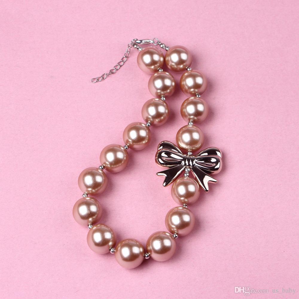 Дети Коренастый ожерелье Модный дизайн Baby Girl Чистый цвет жевательная ожерелье девушки Bubble Gum бисера ювелирных изделий