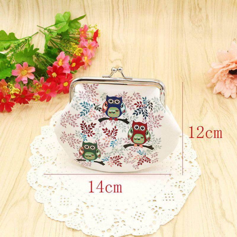Fashion PU leather key purse Portable cute Owl shape Clutch Bag Handbag mini Coin change Purse Animal Graphic Wallet Christmas Gift
