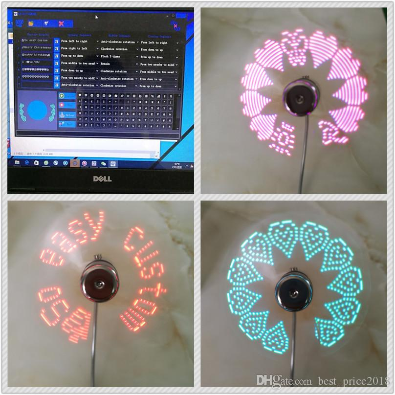 2018 DIY USB Gadget Mini USB Fan Flexible Programmable LED Cooler Cooling Fan Programming USB Fan LED Light Free DHL
