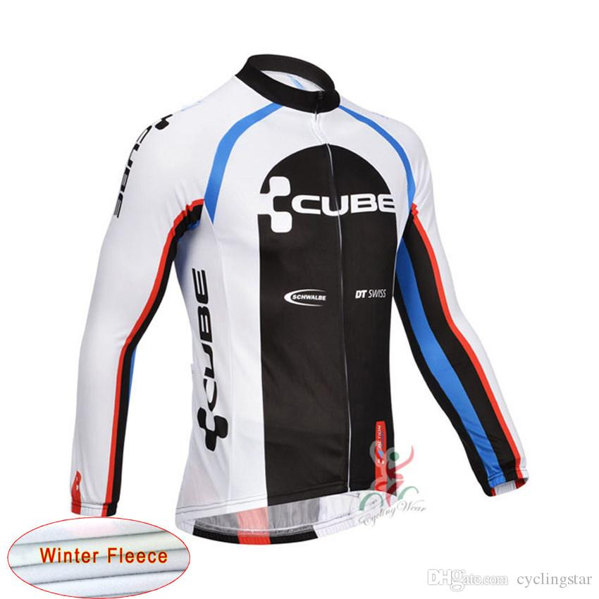 CUBE Tour de france cycling jersey Men winter Thermal Fleece bike jacket Cycling Clothing Sportswear long sleeve maillot ropa ciclismo B2504