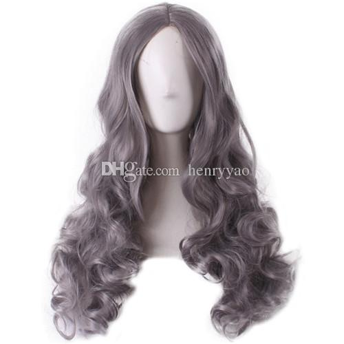 Cosplay Hair Cheap Wig Granny Grey Women Wigs Lolita Cartoon Long Body Wave Side Bang Heat Resistant Wigs