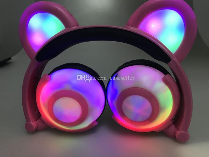 Moda Colorido Auriculares Plegables LED Luz Brillante Oso Música Auricular 3.5mm Jack Estéreo Auriculares de Alambre Para teléfono PC