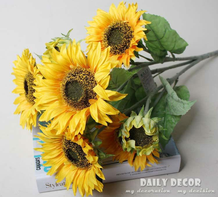 2018 wholesale high q 9 forks high simulation fake yellow high q 9 forks high simulation fake yellow sunflower artificial silk flower home christmas wedding decoration from jerry110 9098 dhgate mightylinksfo