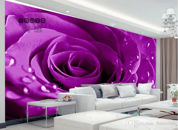 Romantic wedding dress wall painting a European 3D rosebud flower bridal house decoration painting background wall paper wallpaper