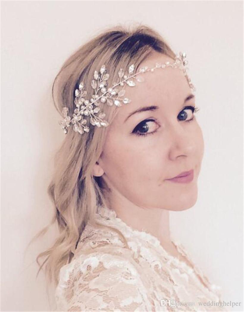 2018 Wedding Bridal Pearl Headband Hair Band Ribbon Crystal ...