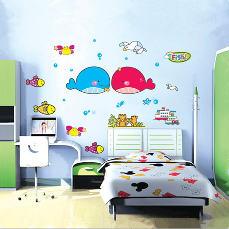 Removable Ocean Wall Stickers Kid Room Cute Wallpaper Children Hot   Wall  Decals Ocean