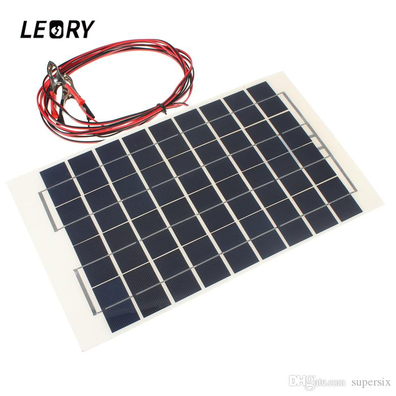 LEORY Solar Panel 12V 10W PolyCrystalline Transparent Epoxy Resin Cells DIY  Module With Block Diode 2 Alligator Clips 4m Cable