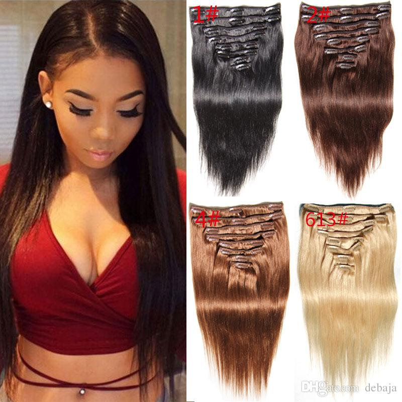 Colorful Clip In Human Hair Weaves Extensions Blackblonde Straight