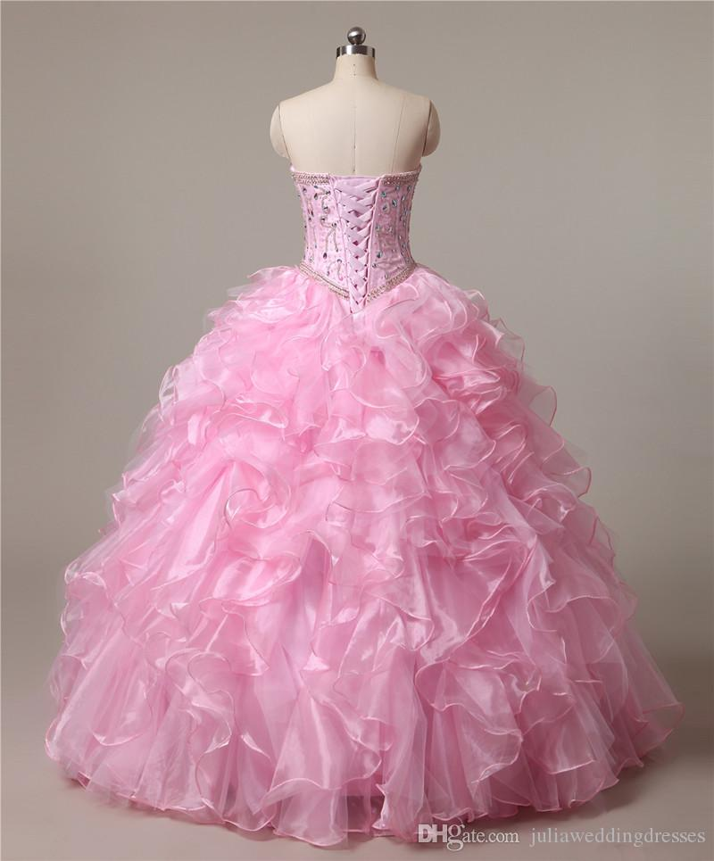 2017 Sexy Pink Crystal Ball Gown Quinceanera Dresses with Beading Sequin Organza Lace Up Sweet 16 Dresses Vestido Debutante Gowns BQ08