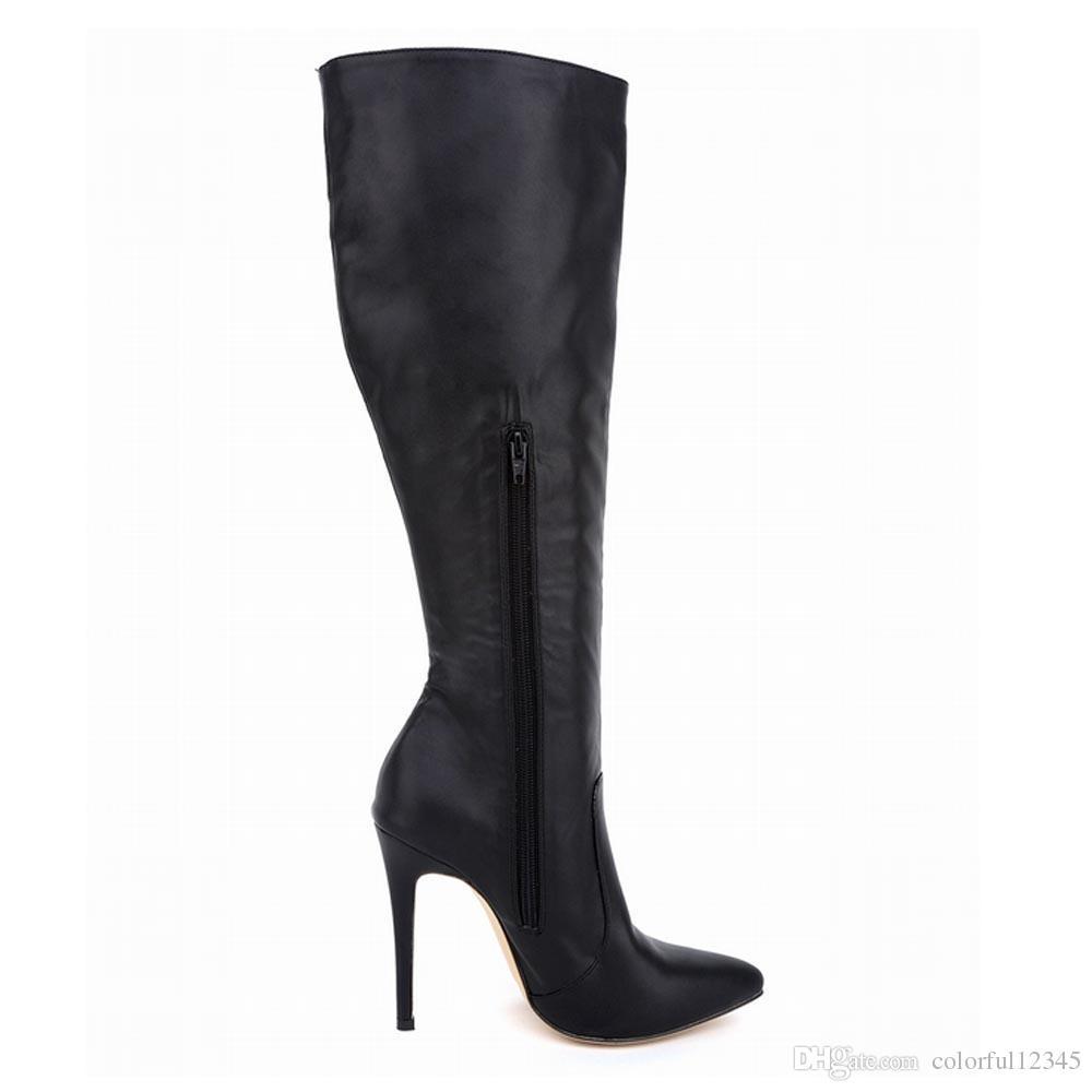 Botas Feminina Bayan Deri Sivri Burun Yüksek Topuklu Sonbahar Kış Orta Buzağı Diz Geniş Bacak Streç Çizmeler