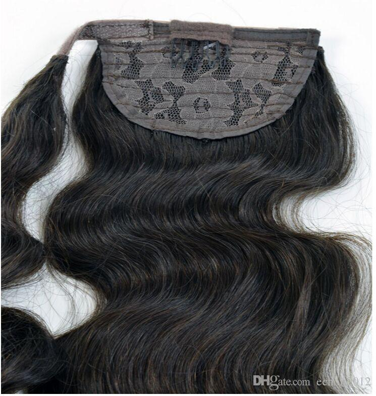 Ocean wave Magic Hair Wrap long high remy #2 Human Hair Pony tails hairpiece 100g-140g Clip in ponytail wavy Hair Extensions
