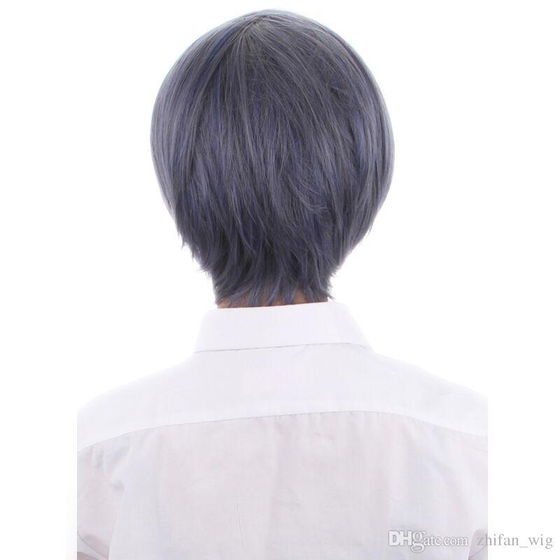 ZF Cosplay 30CM Mixed Colour Shot Uomo sintetico Cosplay Parrucche del partito di Halloween argento classico Pure White Anime Parrucche