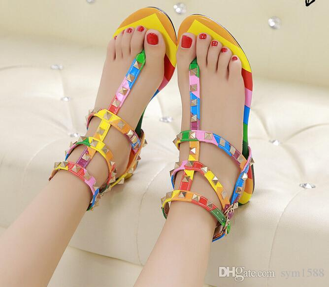 c5d215a520684f Size 34-45 Rainbow Color Gladiator Sandals Women Designer Brand Rivets Flip  Flops T Strap-sandals Ankle Belt Roman Shoes Men s Sandals Men Women Sandals  ...