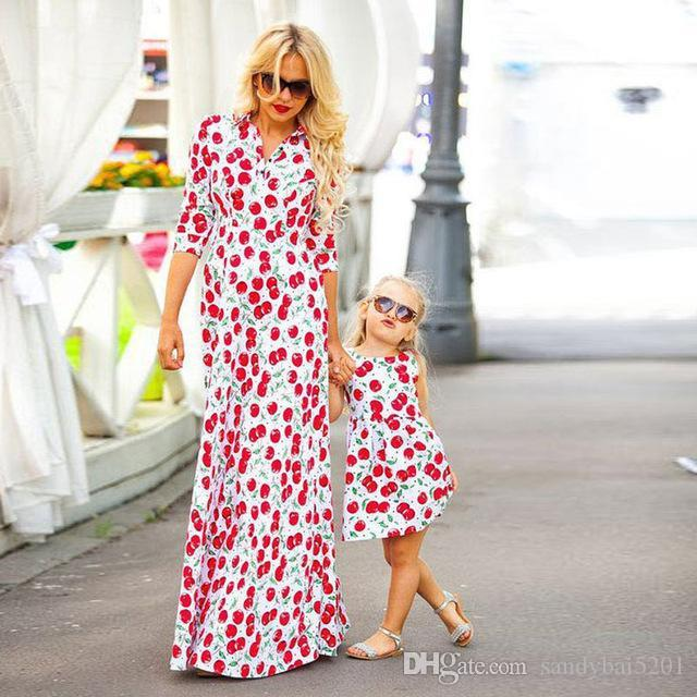 Mother Daughter Cherry Dresses Mom Girls Floral Print Dress 2017 Kids Girl  Dress Women Beach Party Long Dress Family Match Clothes B430 Matching  Couple ... a32aab3151cc