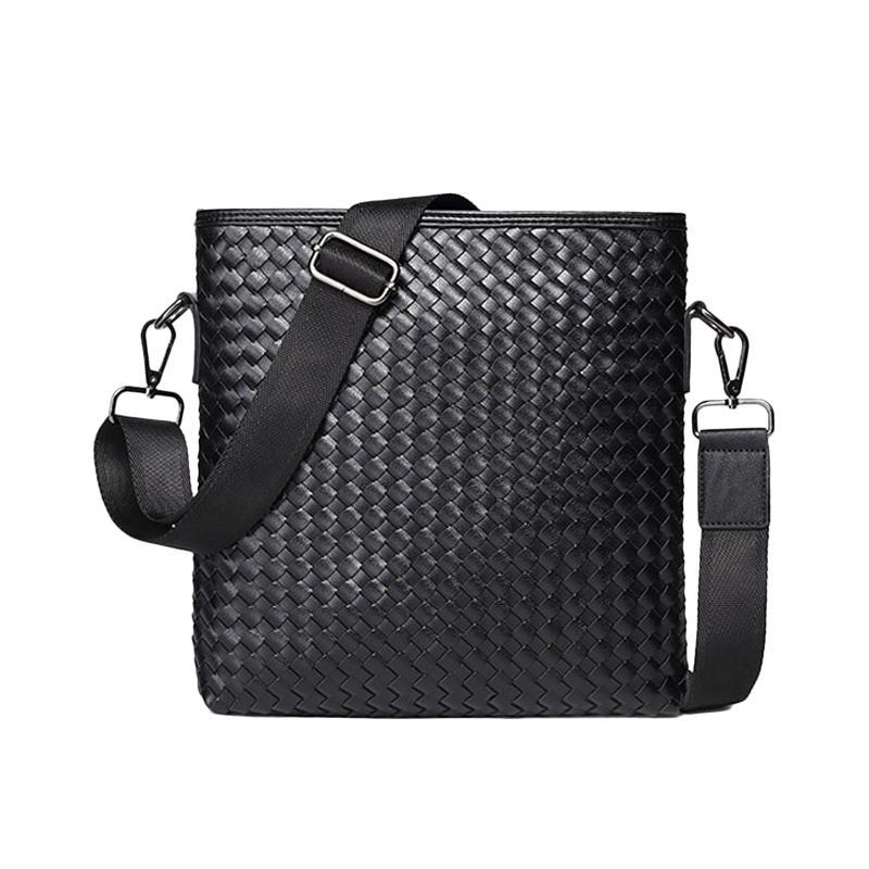 5d1c8b6d086c GUDANSEN Brand Weave Leather Men Shoulder Bag Casual Business Satchel Mens  Messenger Bag Vintage Men s Crossbody Bag Bolsas Male Weave Bag Men  Crossbody Bag ...