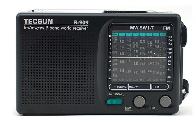 Wholesale-Tecsun R-909 FM / MW / SW 9 Band Word Receiver high sensitivity Portable Radio Stereo R909 With Speaker Dual power supply