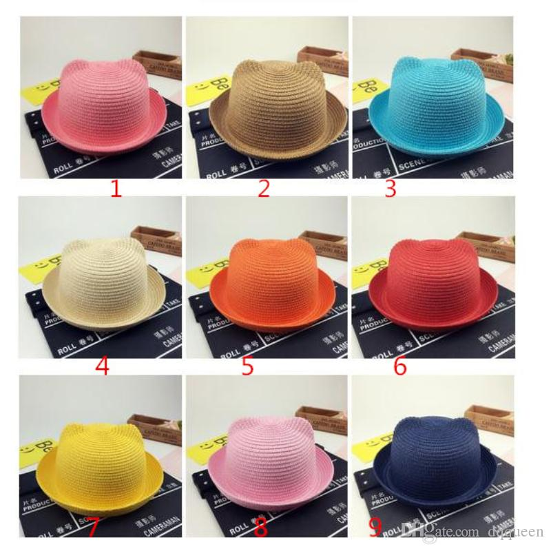 59e2c473bff Fashion Summer Baby Children Straw Hats Ear Decoration Lovely ...