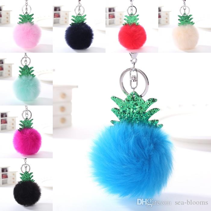 16 Styles Hot Sale Christmas Tree Rabbit Fur Ball Pom Pom Keychain Charm Keychains Car Key Ring Handbag Tote Bag Pendant Free Dhl D374q Personalized