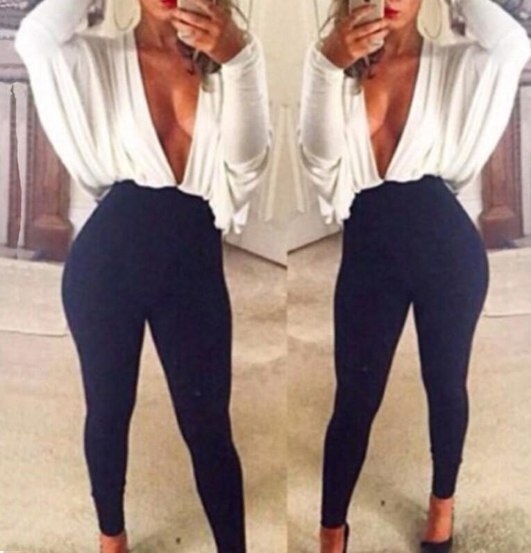bbaf93f7524a 2019 Wholesale New Unique Design Lady Khaki White Patchwork Black Sexy  Jumpsuits Bat Sleeves Deep V Neck Loose Up Tight Bodysuit Night Clubwear  From ...