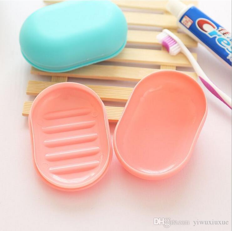 новые аксессуары для ванной комнаты конфеты цвет портативный путешествия домой пластиковые мыльница с крышкой нескользящей мыльницы держатель пластины бесплатная доставка