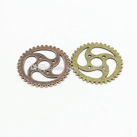 Sweet Bell ordem Min 10 peças 40mm Três cores Banhado A Liga de Metal Do Vintage grande Engrenagem Engrenagens Engrenagem Jewerly D0464