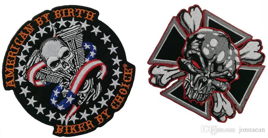 Cheap Skull Biker Iron On Patch Motorcycle Biker Club MC Front Jacket Vest Patch Detailed Embroidery