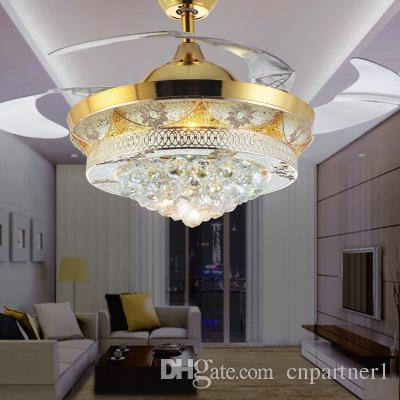Novos Ventiladores de Led LightInvisible Lâminas Ventiladores De Teto Moderna Ventilador Da Lâmpada Sala de estar de 42 polegada K9 Lustres de Luz de Teto luminária navio livre