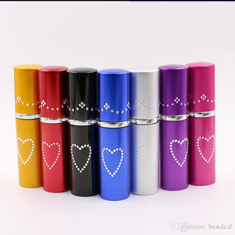 HOT 5ml Heart Aluminum Perfume Bottles With Spray Atomizer For Travel Aluminium Cap Bottle Atomizer Perfume Essential Oils Diffusers