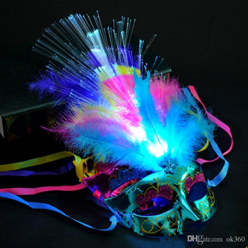 Женщины Венецианский LED Волокно Высвечи маски маскарад Необычные платья партии принцессы перо Светящиеся Маски маскарадные маски