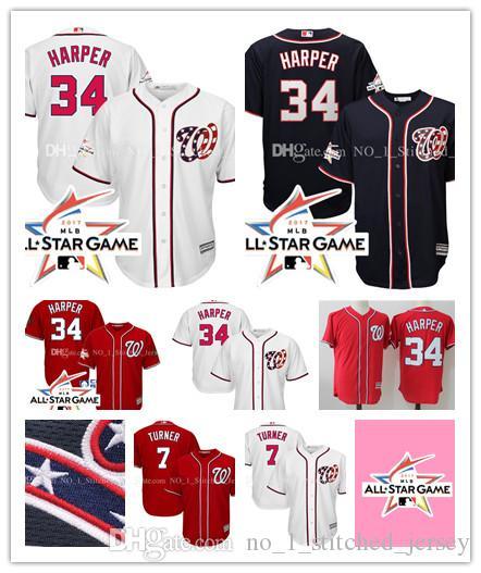 0db34102e1b ... Washington Nationals Bryce Harper 34 Trea Turner 7 Jersey 2017 MLB All-Star  Game Alternate .