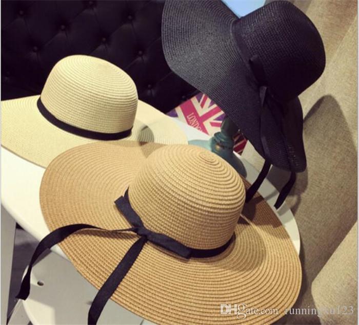 Mulheres Grande Floppy Dobrável Chapéu De Palha Boho Aba Larga Praia Cap  Sol 3 Cores com Arco Férias de Verão 5723eda9712