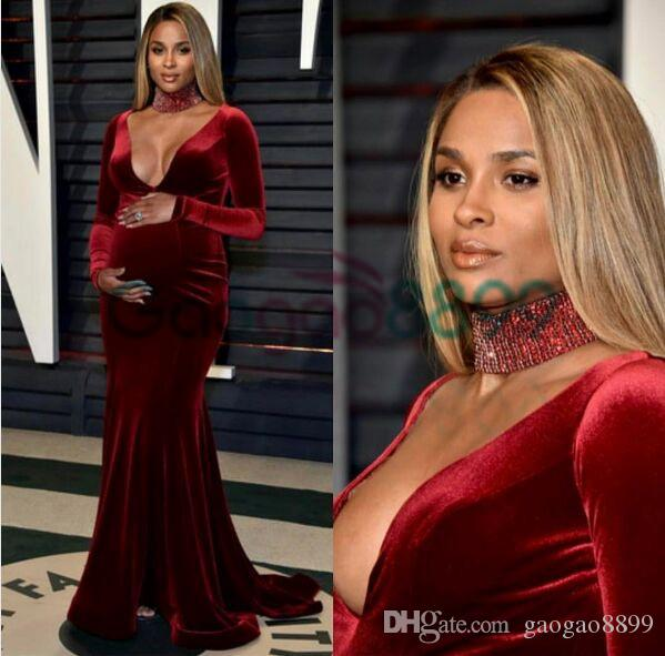 2017 Oscar Pregnant Maternity Ciara Celebrity Red Carpet Dresses Burgundy Velvet High Neck Beaded Long Sleeve Mermaid Arabic Prom Dress
