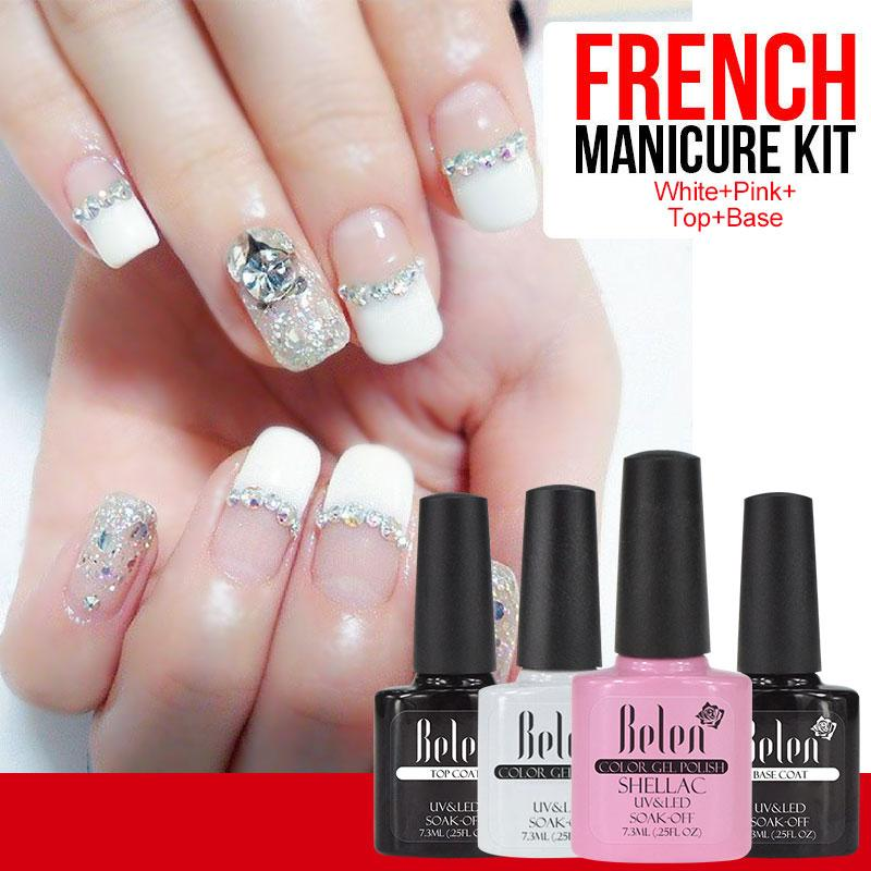 Wholesale- Belen UV Gel Nail Polish Pink White French Manicure Top ...